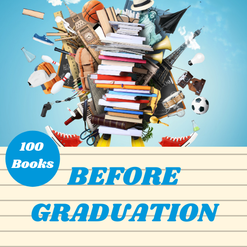 Large stack of books with an assortment of random objects exploding out from behind.