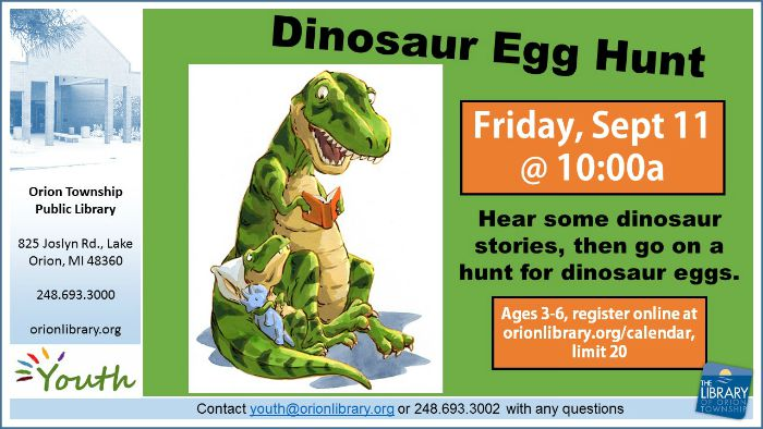 Dinosaur Egg Hunt - Friday, September 11 at 10am