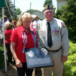 James and Kathy Hubbard at his plaque dedication in the Meditation Area