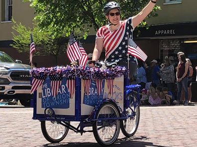 Bookbike decorated in American flags.