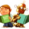 Boy and robot reading summer reading graphic