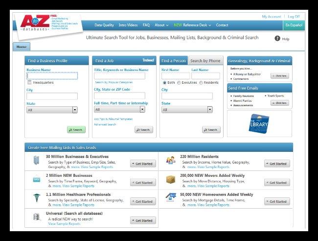 AtoZdatabases Screenshot
