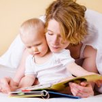 Mother and baby reading board books
