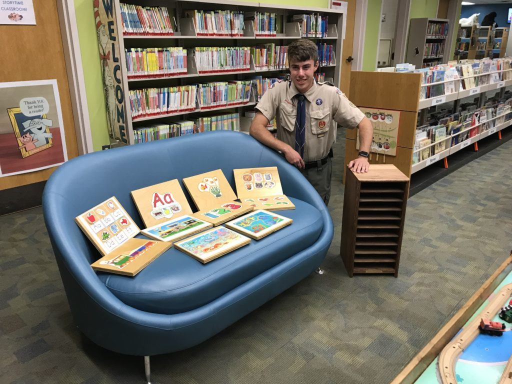 Eagle Scout David Kaufman and his Eagle Scout project puzzles