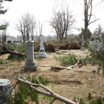 Several fallen trees in Evergreen Cemetery, Lake Orion.