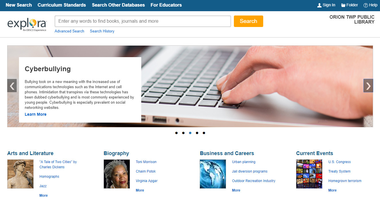 Screenshot of Explora Interface