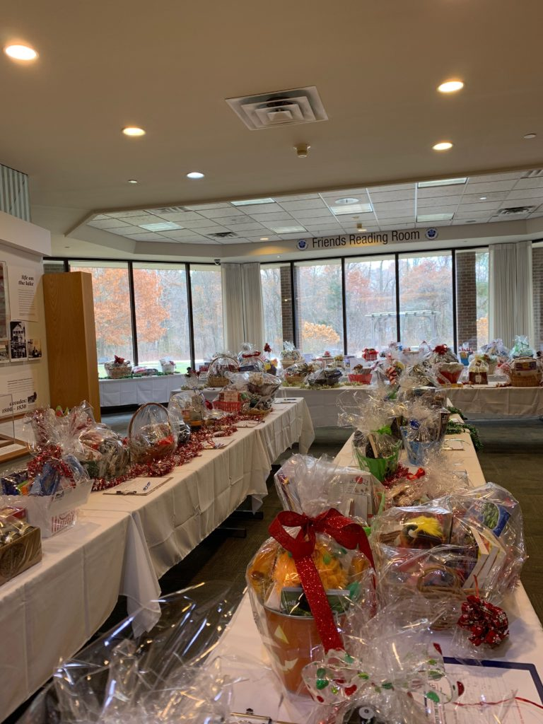 Friends Auction Baskets on display