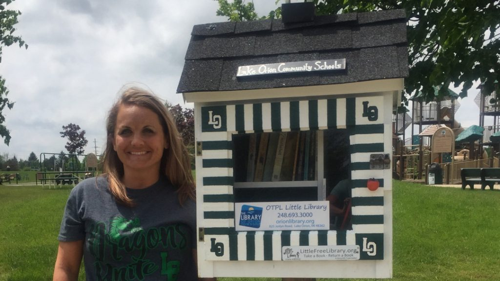 Artist Sarah Roberts and her Little Library at Friendship Park