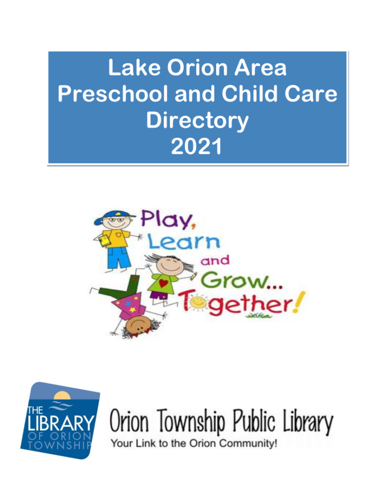 Lake Orion Area Preschool and Childcare Directory 2021 by the Orion Township Public Library - Cover Image