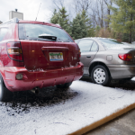 Hailstone buildup outside a garage on Ridgeview Cirle.