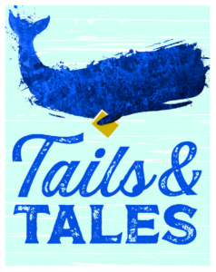 stylized whale hold a book with the Tails and Tales logo beneath