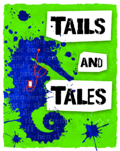 stylized seahorse listening to a digital audio player with the Tails and Tales logo