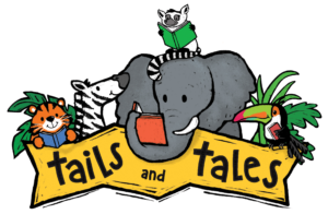Cartoon animals holding and / or reading books with Tails and Tales logo.